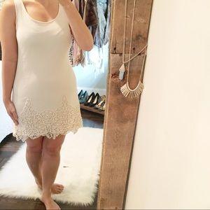 Altr'd State small cream crochet sexy shift dress